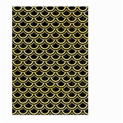 Scales2 Black Marble & Yellow Watercolor (r) Large Garden Flag (two Sides) by trendistuff