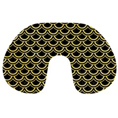 Scales2 Black Marble & Yellow Watercolor (r) Travel Neck Pillows by trendistuff