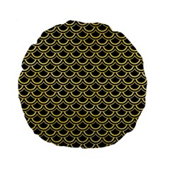 Scales2 Black Marble & Yellow Watercolor (r) Standard 15  Premium Flano Round Cushions by trendistuff