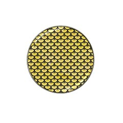 Scales3 Black Marble & Yellow Watercolor Hat Clip Ball Marker by trendistuff