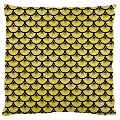 Scales3 Black Marble & Yellow Watercolor Large Flano Cushion Case (one Side) by trendistuff