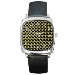Scales3 Black Marble & Yellow Watercolor (r) Square Metal Watch by trendistuff