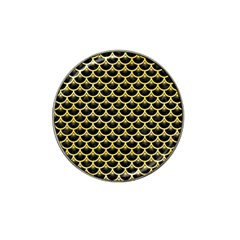 Scales3 Black Marble & Yellow Watercolor (r) Hat Clip Ball Marker by trendistuff