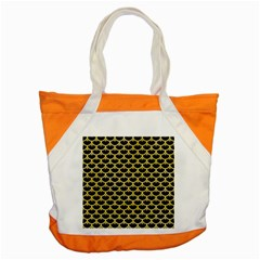 Scales3 Black Marble & Yellow Watercolor (r) Accent Tote Bag by trendistuff