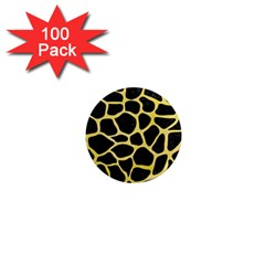 Skin1 Black Marble & Yellow Watercolor 1  Mini Magnets (100 Pack)  by trendistuff