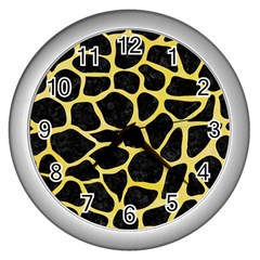 Skin1 Black Marble & Yellow Watercolor Wall Clocks (silver)  by trendistuff