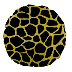 Skin1 Black Marble & Yellow Watercolor Large 18  Premium Round Cushions by trendistuff