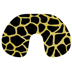Skin1 Black Marble & Yellow Watercolor Travel Neck Pillows by trendistuff