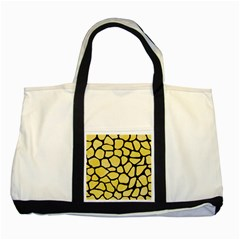 Skin1 Black Marble & Yellow Watercolor (r) Two Tone Tote Bag