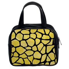 Skin1 Black Marble & Yellow Watercolor (r) Classic Handbags (2 Sides) by trendistuff