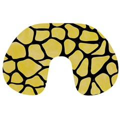 Skin1 Black Marble & Yellow Watercolor (r) Travel Neck Pillows by trendistuff