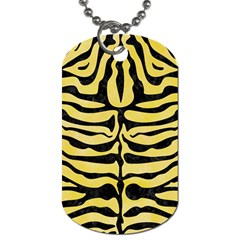 Skin2 Black Marble & Yellow Watercolor Dog Tag (two Sides) by trendistuff
