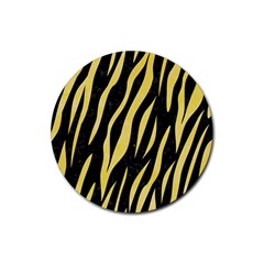 Skin3 Black Marble & Yellow Watercolor (r) Rubber Round Coaster (4 Pack)  by trendistuff