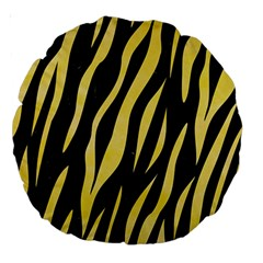 Skin3 Black Marble & Yellow Watercolor (r) Large 18  Premium Round Cushions by trendistuff