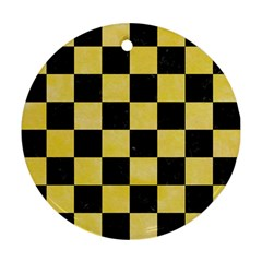 Square1 Black Marble & Yellow Watercolor Ornament (round) by trendistuff