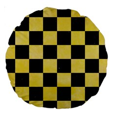 Square1 Black Marble & Yellow Watercolor Large 18  Premium Round Cushions by trendistuff