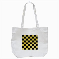 Square1 Black Marble & Yellow Watercolor Tote Bag (white) by trendistuff