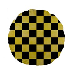 Square1 Black Marble & Yellow Watercolor Standard 15  Premium Flano Round Cushions by trendistuff