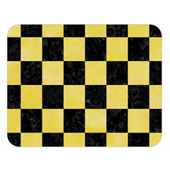 Square1 Black Marble & Yellow Watercolor Double Sided Flano Blanket (large)  by trendistuff