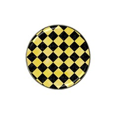 Square2 Black Marble & Yellow Watercolor Hat Clip Ball Marker (4 Pack) by trendistuff