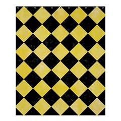 Square2 Black Marble & Yellow Watercolor Shower Curtain 60  X 72  (medium)  by trendistuff