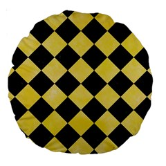 Square2 Black Marble & Yellow Watercolor Large 18  Premium Round Cushions by trendistuff