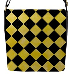 Square2 Black Marble & Yellow Watercolor Flap Messenger Bag (s) by trendistuff
