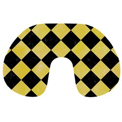 Square2 Black Marble & Yellow Watercolor Travel Neck Pillows by trendistuff