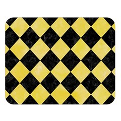 Square2 Black Marble & Yellow Watercolor Double Sided Flano Blanket (large)  by trendistuff
