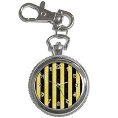 Stripes1 Black Marble & Yellow Watercolor Key Chain Watches by trendistuff
