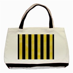 Stripes1 Black Marble & Yellow Watercolor Basic Tote Bag by trendistuff