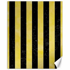 Stripes1 Black Marble & Yellow Watercolor Canvas 16  X 20   by trendistuff