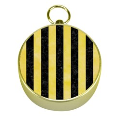 Stripes1 Black Marble & Yellow Watercolor Gold Compasses by trendistuff