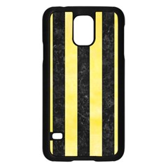 Stripes1 Black Marble & Yellow Watercolor Samsung Galaxy S5 Case (black) by trendistuff