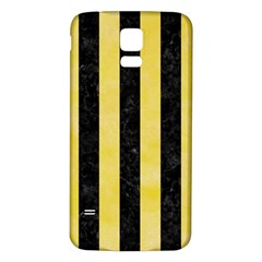 Stripes1 Black Marble & Yellow Watercolor Samsung Galaxy S5 Back Case (white) by trendistuff