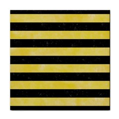 Stripes2 Black Marble & Yellow Watercolor Face Towel by trendistuff