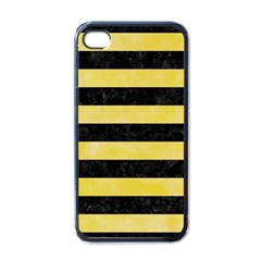 Stripes2 Black Marble & Yellow Watercolor Apple Iphone 4 Case (black) by trendistuff