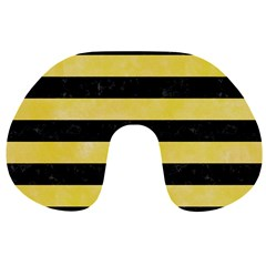 Stripes2 Black Marble & Yellow Watercolor Travel Neck Pillows by trendistuff