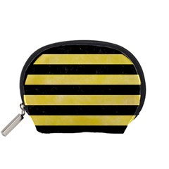 Stripes2 Black Marble & Yellow Watercolor Accessory Pouches (small)  by trendistuff