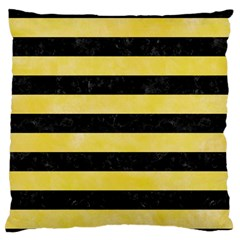 Stripes2 Black Marble & Yellow Watercolor Large Flano Cushion Case (one Side) by trendistuff