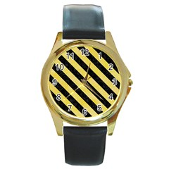 Stripes3 Black Marble & Yellow Watercolor Round Gold Metal Watch by trendistuff