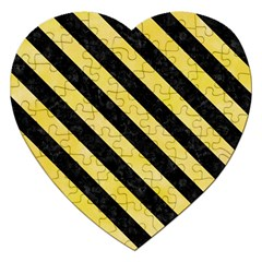 Stripes3 Black Marble & Yellow Watercolor Jigsaw Puzzle (heart) by trendistuff
