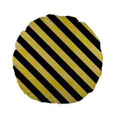Stripes3 Black Marble & Yellow Watercolor Standard 15  Premium Flano Round Cushions by trendistuff
