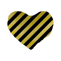 Stripes3 Black Marble & Yellow Watercolor (r) Standard 16  Premium Heart Shape Cushions by trendistuff