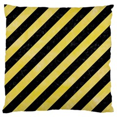Stripes3 Black Marble & Yellow Watercolor (r) Large Flano Cushion Case (one Side) by trendistuff