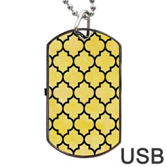 Tile1 Black Marble & Yellow Watercolor Dog Tag Usb Flash (two Sides) by trendistuff
