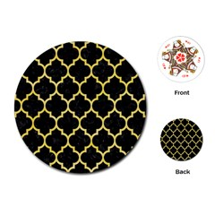 Tile1 Black Marble & Yellow Watercolor (r) Playing Cards (round)  by trendistuff