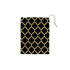 Tile1 Black Marble & Yellow Watercolor (r) Drawstring Pouches (xs)  by trendistuff