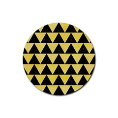 Triangle2 Black Marble & Yellow Watercolor Rubber Round Coaster (4 Pack)  by trendistuff