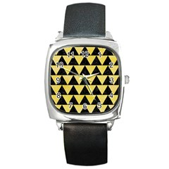 Triangle2 Black Marble & Yellow Watercolor Square Metal Watch by trendistuff